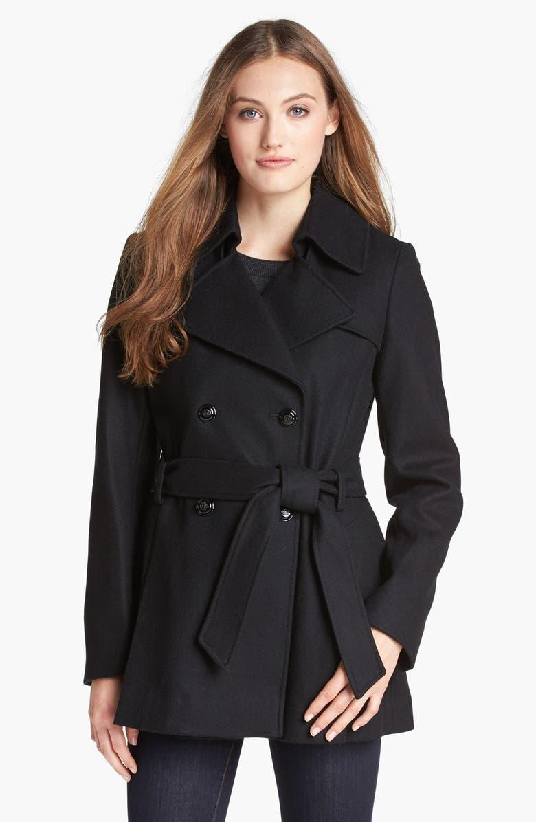VIA SPIGA Short Wool Blend Trench Coat, Main, color, 001