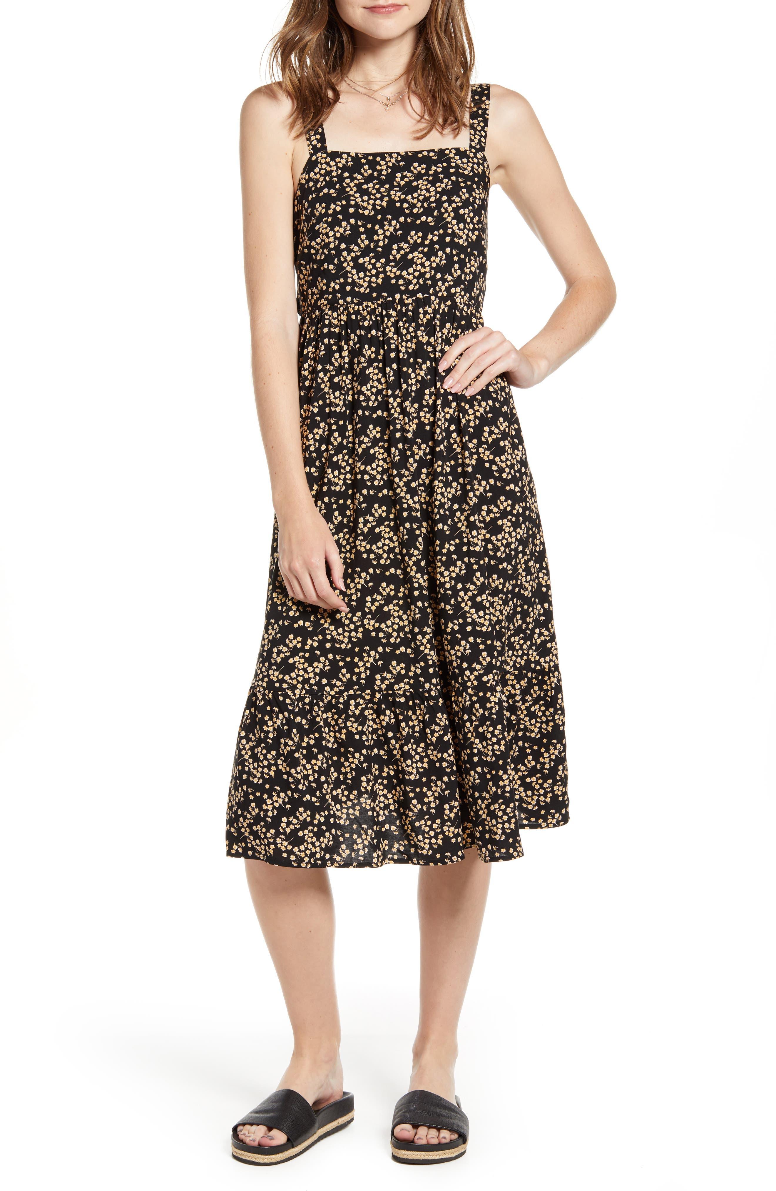 Ten Sixty Sherman Floral Print Apron Sundress, Black