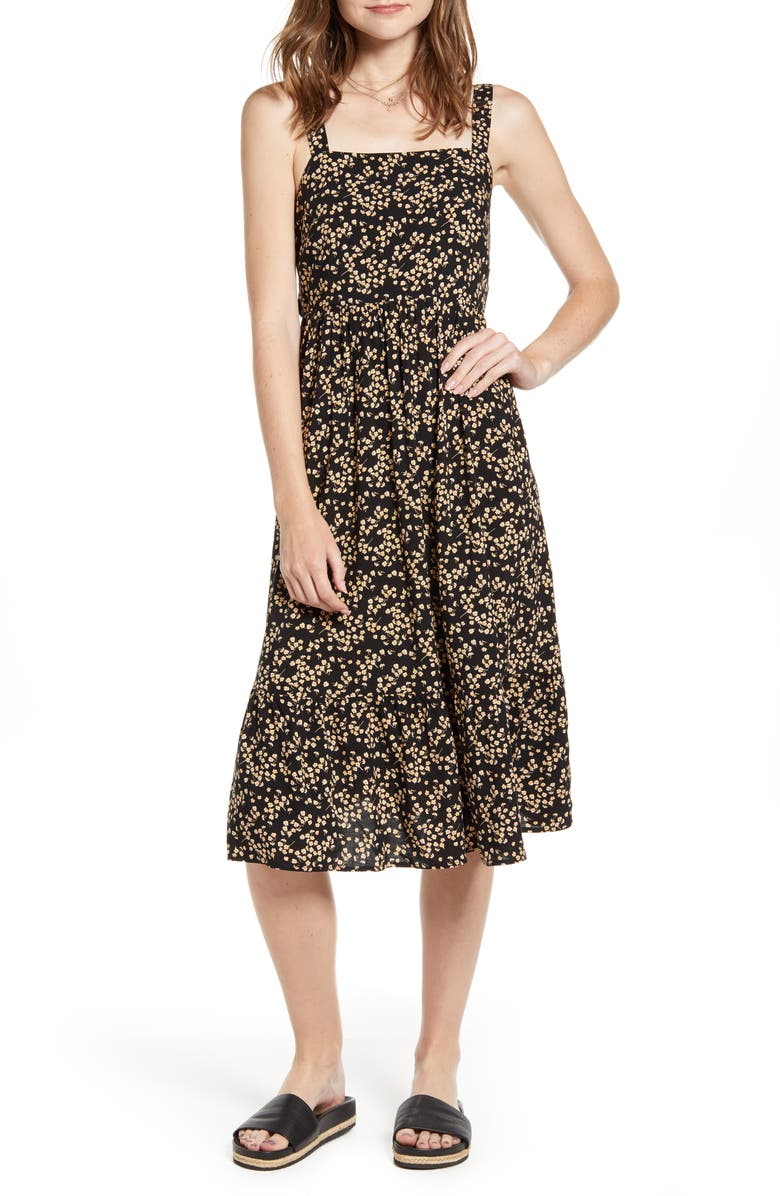 TEN SIXTY SHERMAN Floral Print Apron Sundress, Main, color, BLACK GROUND FLORAL