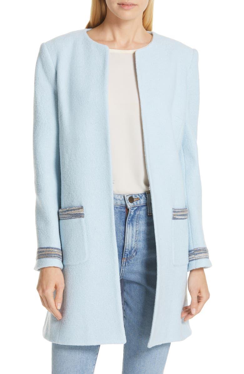 HELENE BERMAN Clean Front Long Wool Jacket, Main, color, 400