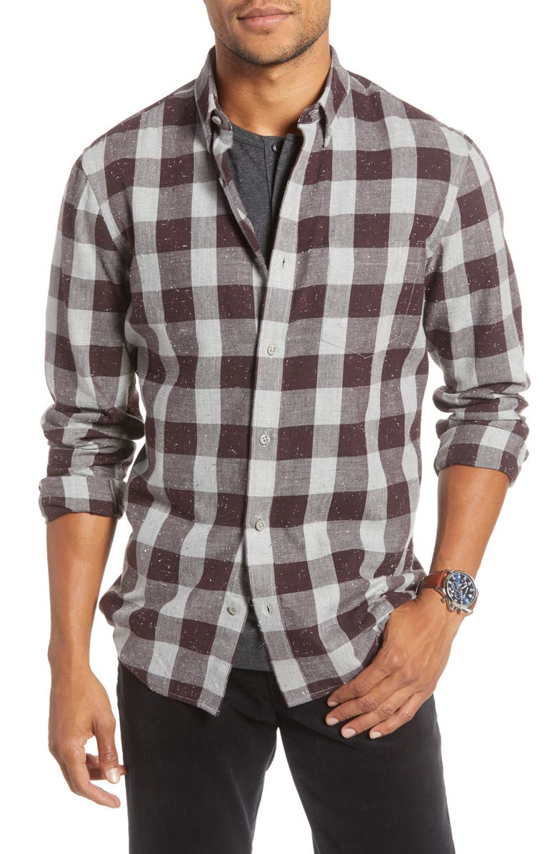 1901 Trim Fit Buffalo Check Button-Down Sport Shirt, Main, color, 030