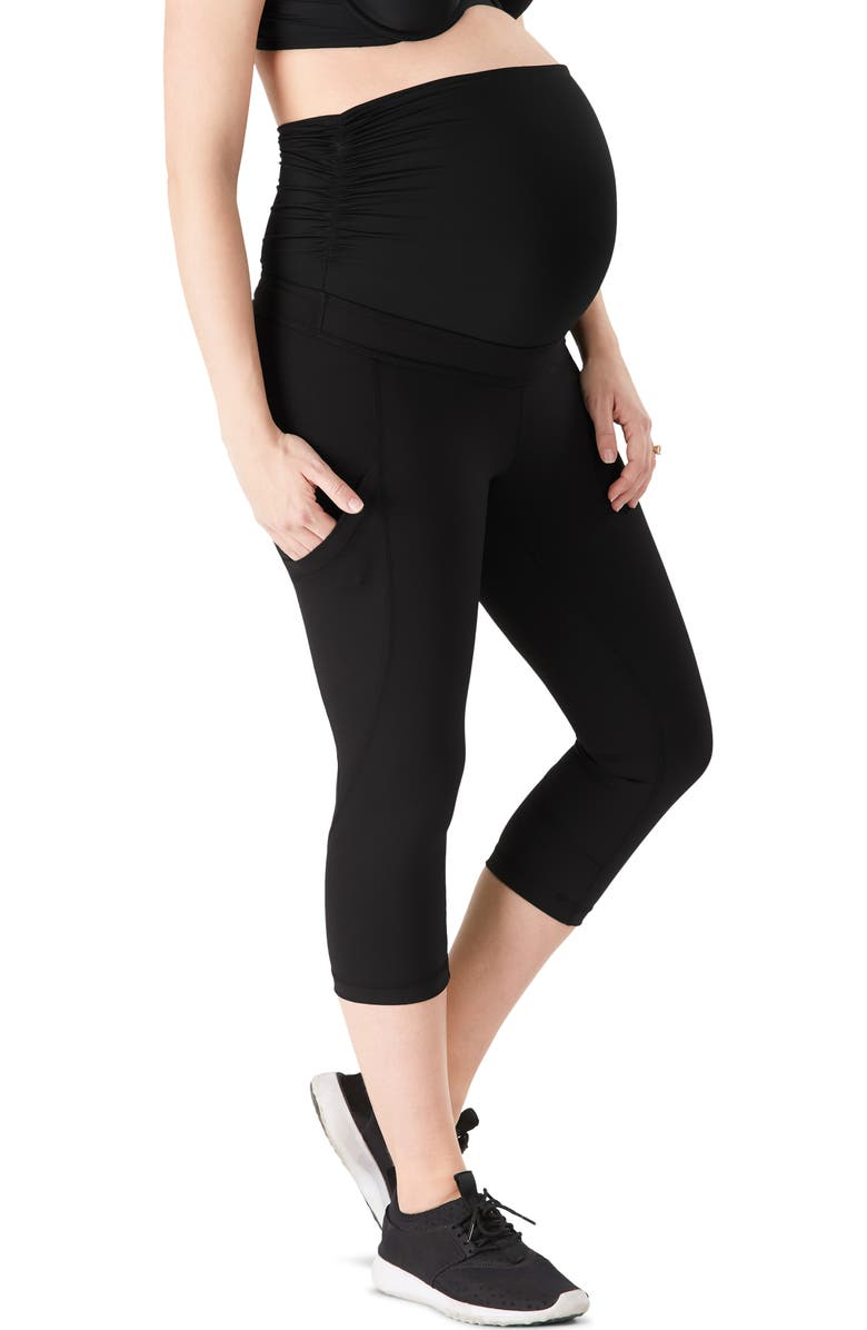 BELLY BANDIT<SUP>®</SUP> ActiveSupport<sup>®</sup> Power Capri Maternity Leggings, Main, color, BLACK