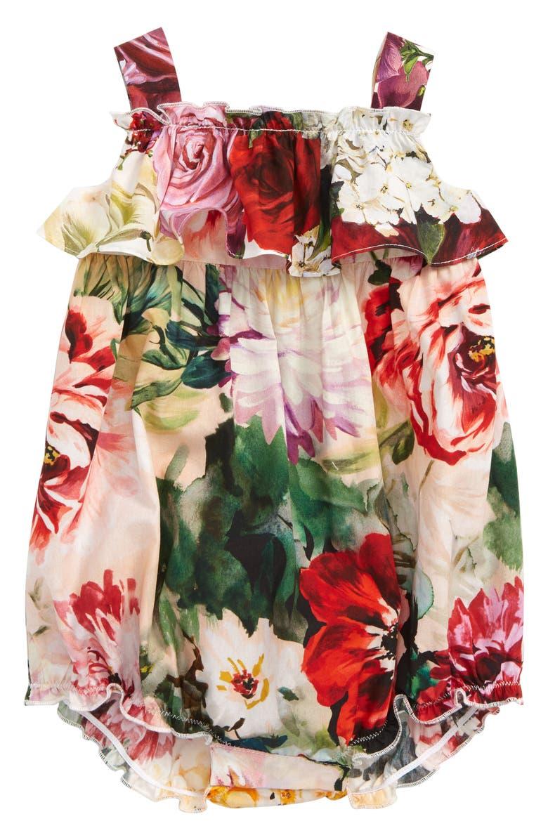 DOLCE&GABBANA Floral Ruffle Bubble Romper, Main, color, MIX FIORI FDO BIANCO