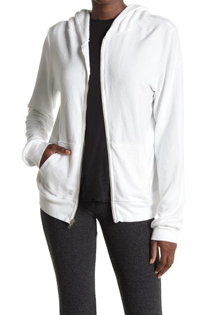 Image of WILDFOX Solid Zip Front Brushed Knit Hoodie