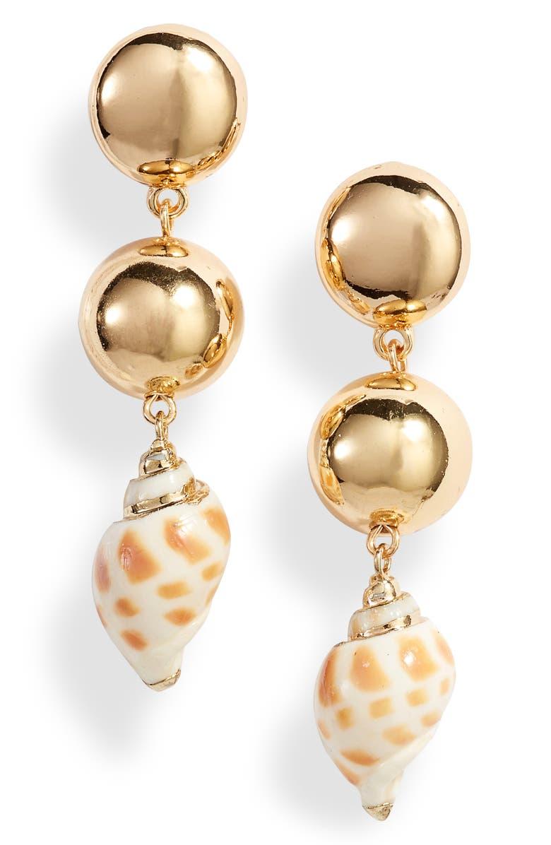 ETTIKA Cowshell Drop Earrings, Main, color, GOLD