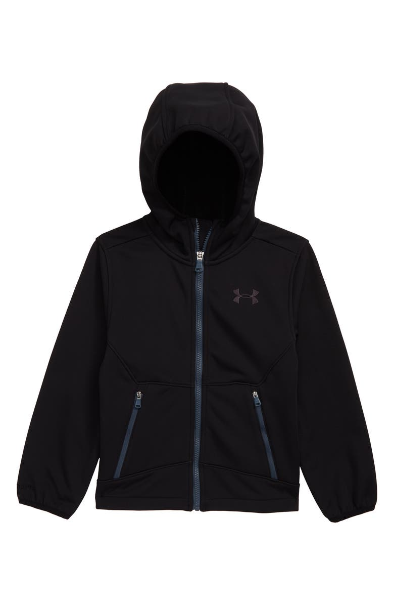 UNDER ARMOUR Sim Front Zip Hooded Jacket, Main, color, BLACK