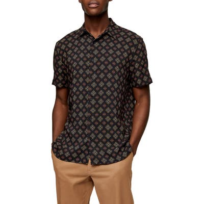 Topman Tile Print Short Sleeve Button-Up Shirt, Black