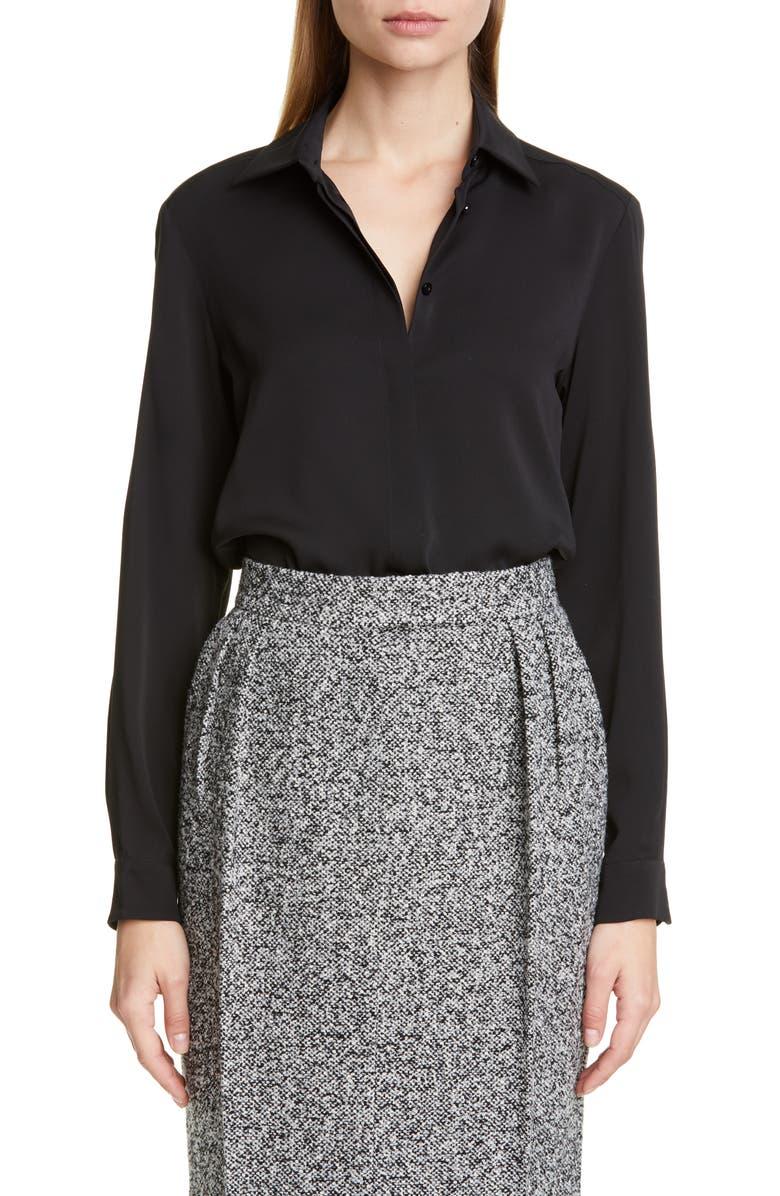 MAX MARA Viaggio Silk Shirt, Main, color, BLACK