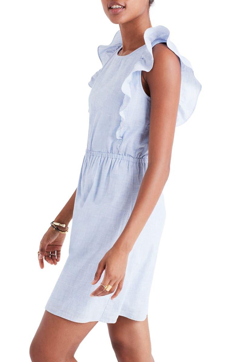 MADEWELL Bellflower Ruffle Dress, Main, color, 400