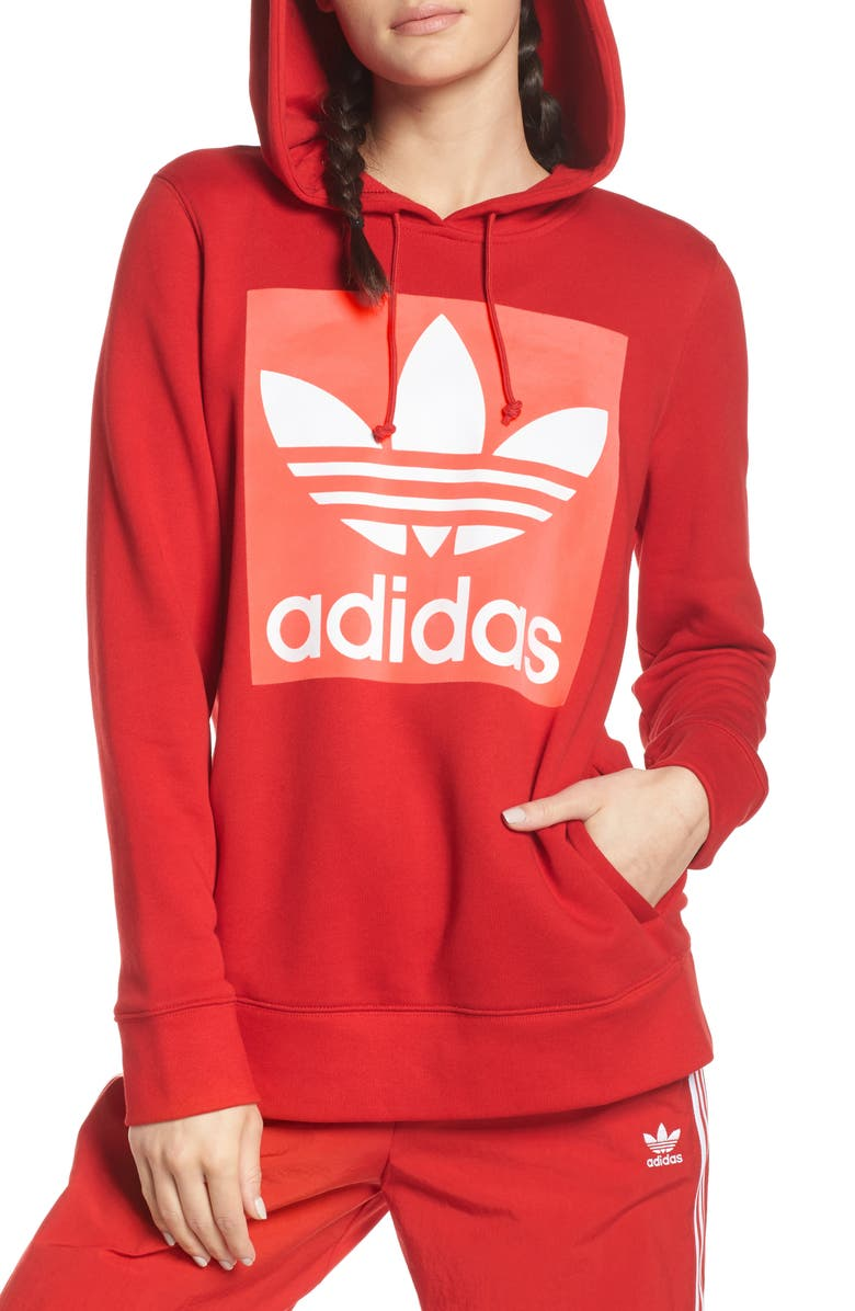 ADIDAS ORIGINALS Trefoil Hoodie, Main, color, SCARLET
