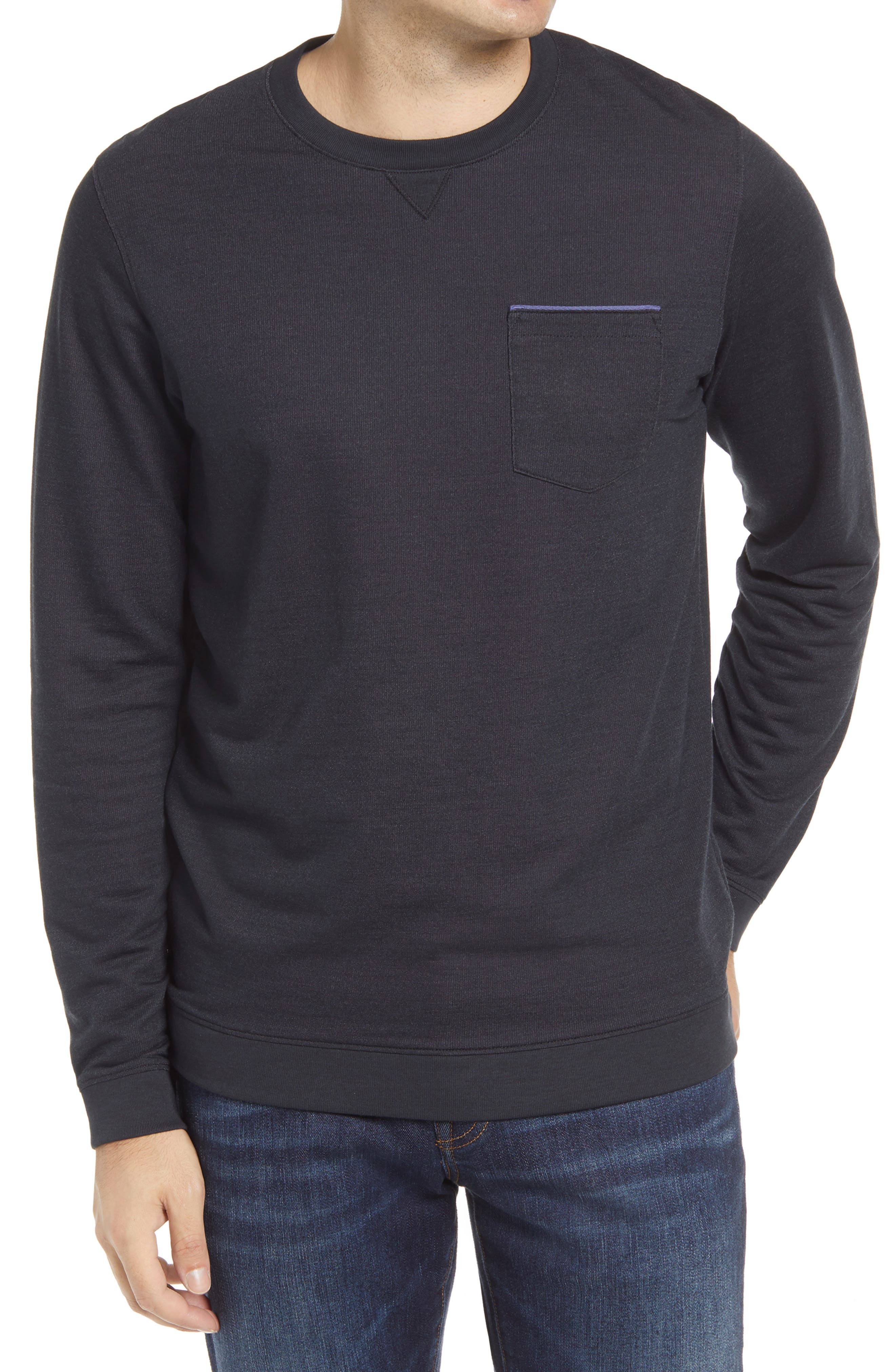 A slim stripe of contrasting color dashes across the chest pocket of a peppered long-sleeve T-shirt. Style Name: Travismathew Lanegan Long Sleeve T-Shirt. Style Number: 5605390. Available in stores.