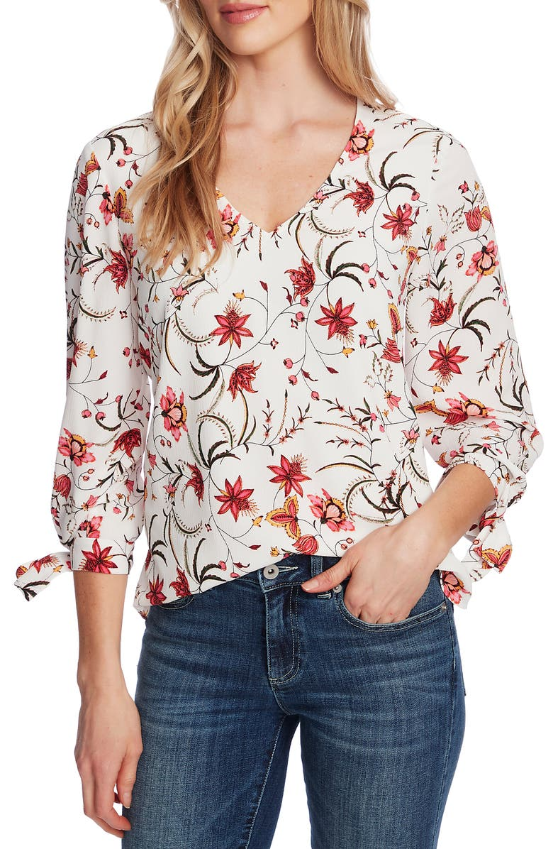 CECE Marrakesh Ink Floral Tie Sleeve Blouse, Main, color, 100