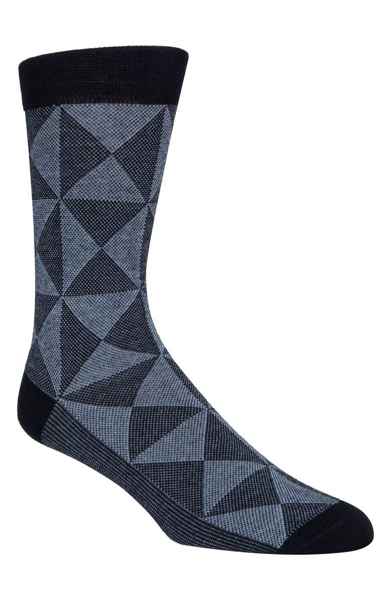 COLE HAAN Diamond Piqué Crew Socks, Main, color, NAVY
