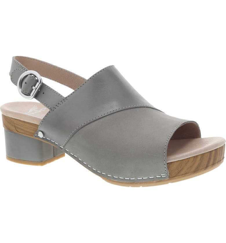 DANSKO Madalyn Slingback Sandal, Main, color, STONE BURNISHED LEATHER