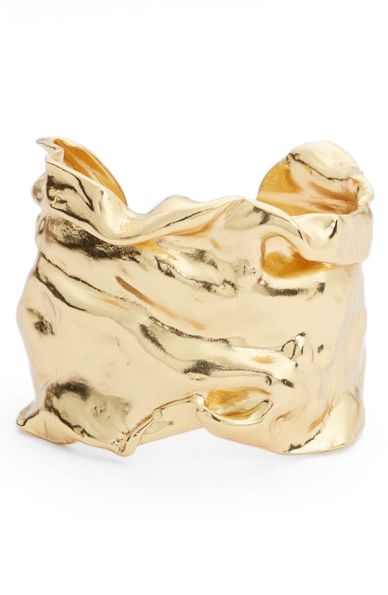 KARINE SULTAN Sculptural Cuff, Main, color, GOLD