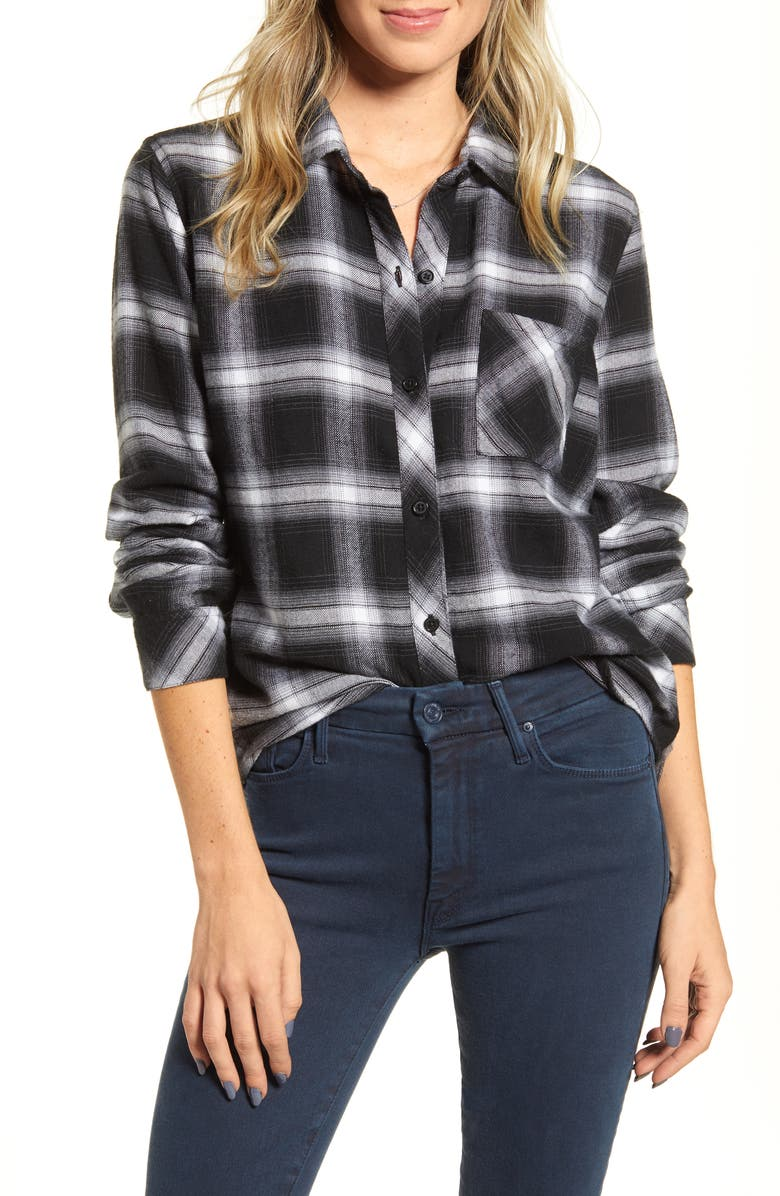 RAILS Hunter Plaid Shirt, Main, color, COAL GREY WHITE