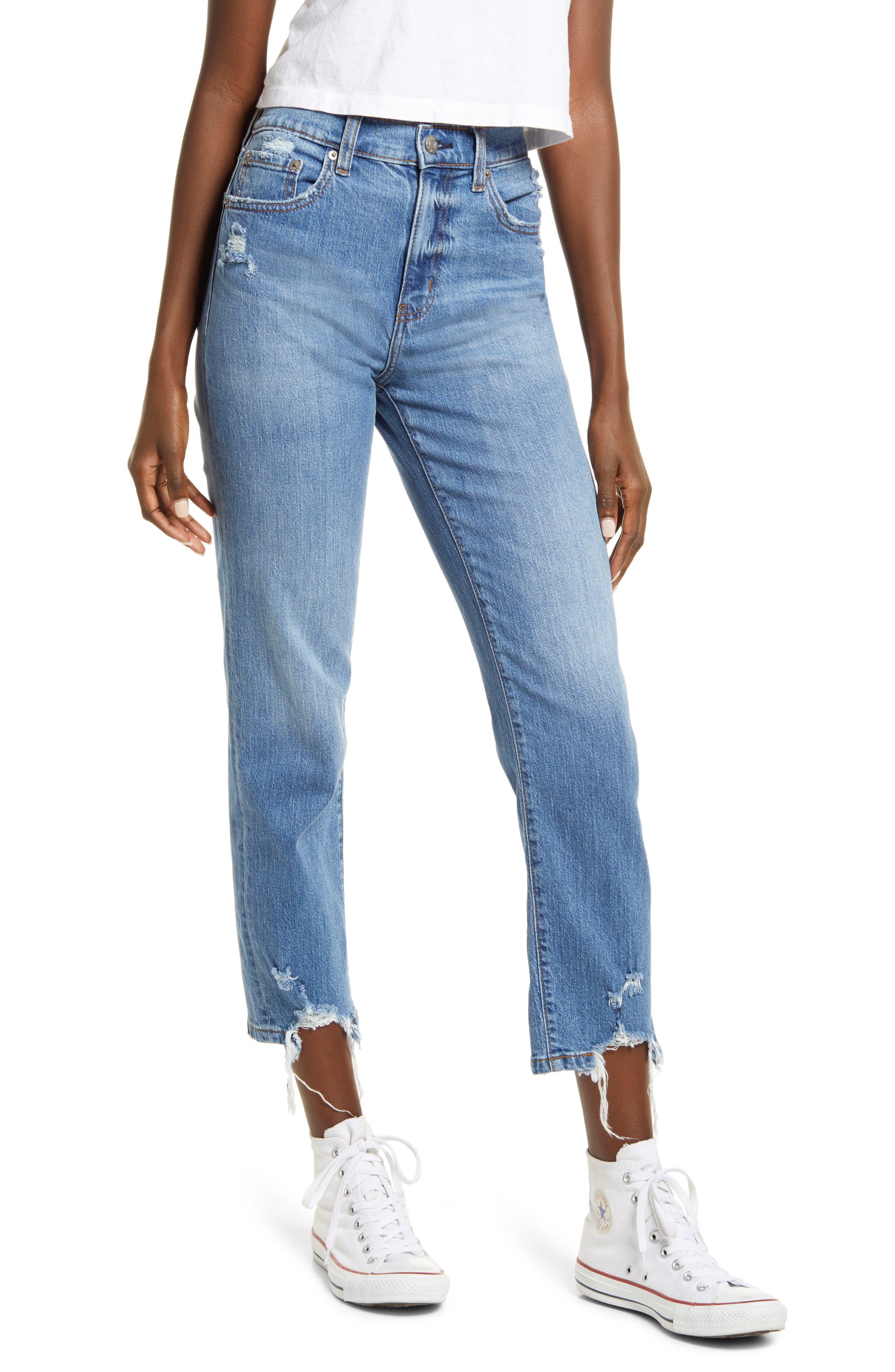 Straight Up Distressed Straight Leg Ankle Jeans