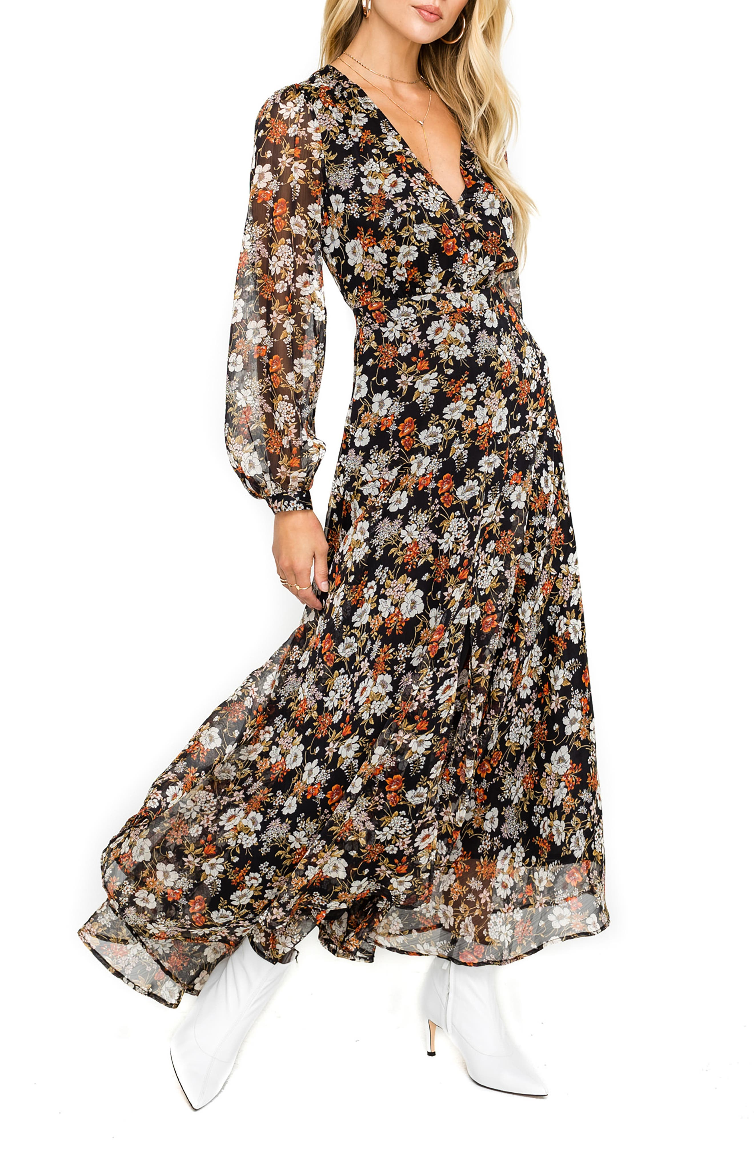 ,                             Handkerchief Hem Maxi Dress,                             Main thumbnail 1, color,                             001