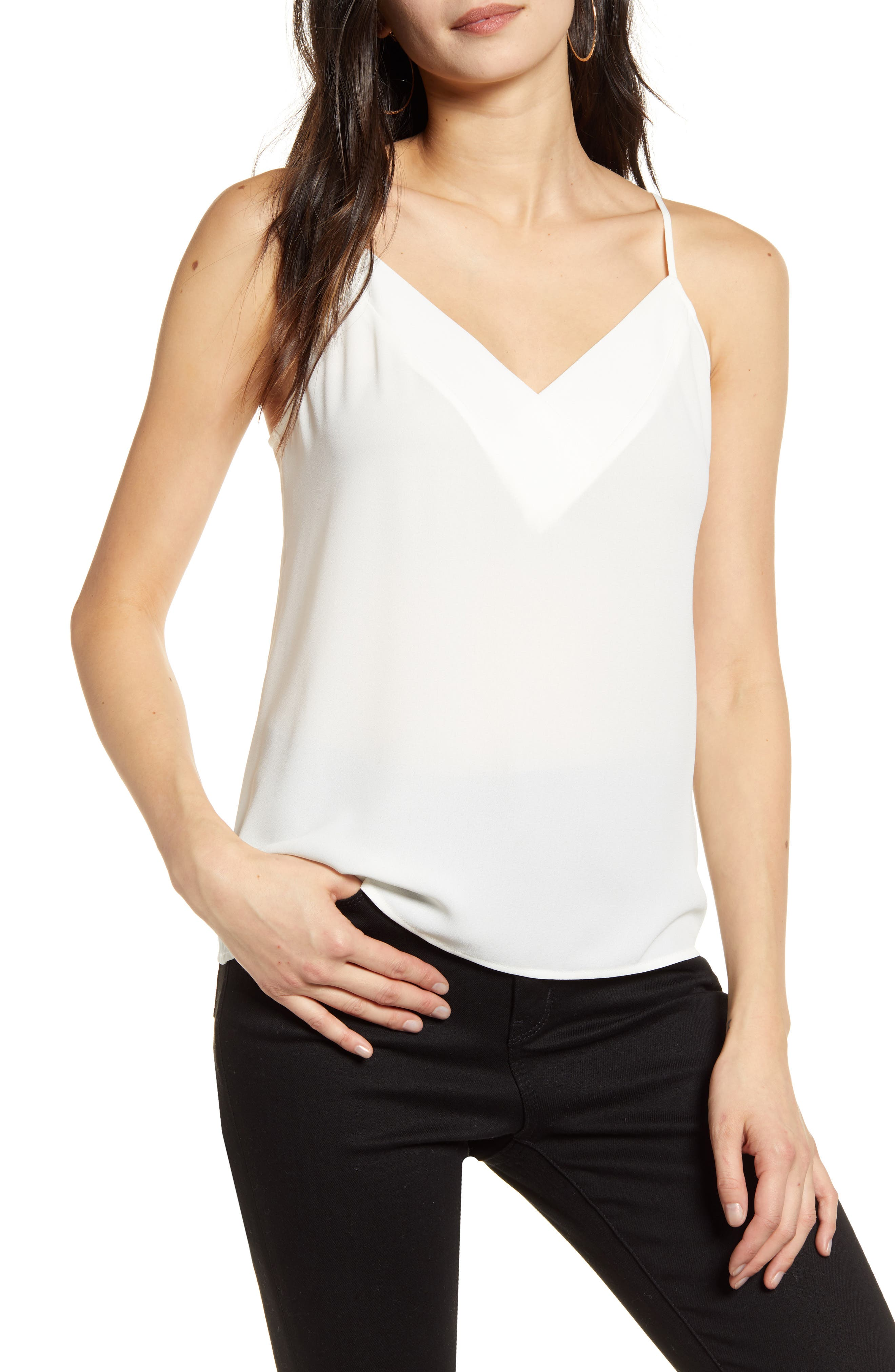 A tonal crossover panel at the neckline elevates a breezy camisole perfect for layering or wearing alone while you\\\'re grabbing dinner with friends. Style Name: Chelsea28 Crossover Camisole. Style Number: 5815751 1. Available in stores.