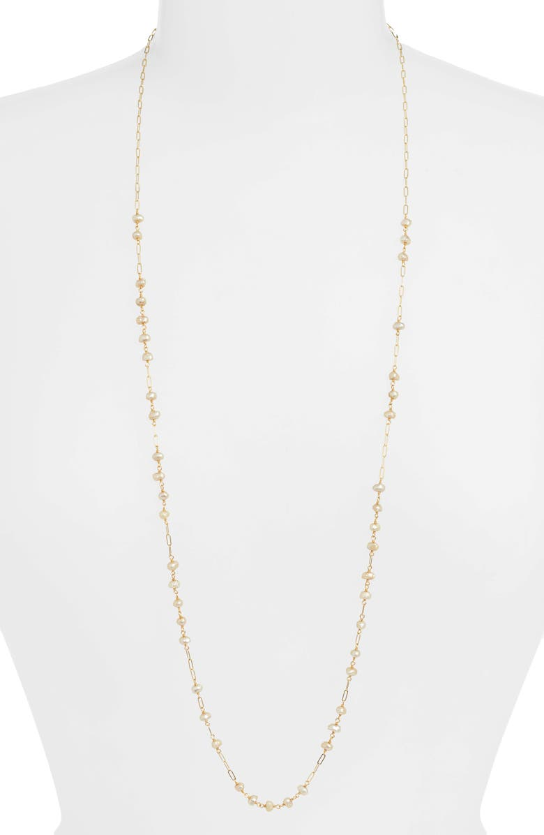 CHAN LUU Freshwater Pearl Long Necklace, Main, color, CHAMPAGNE PEARL