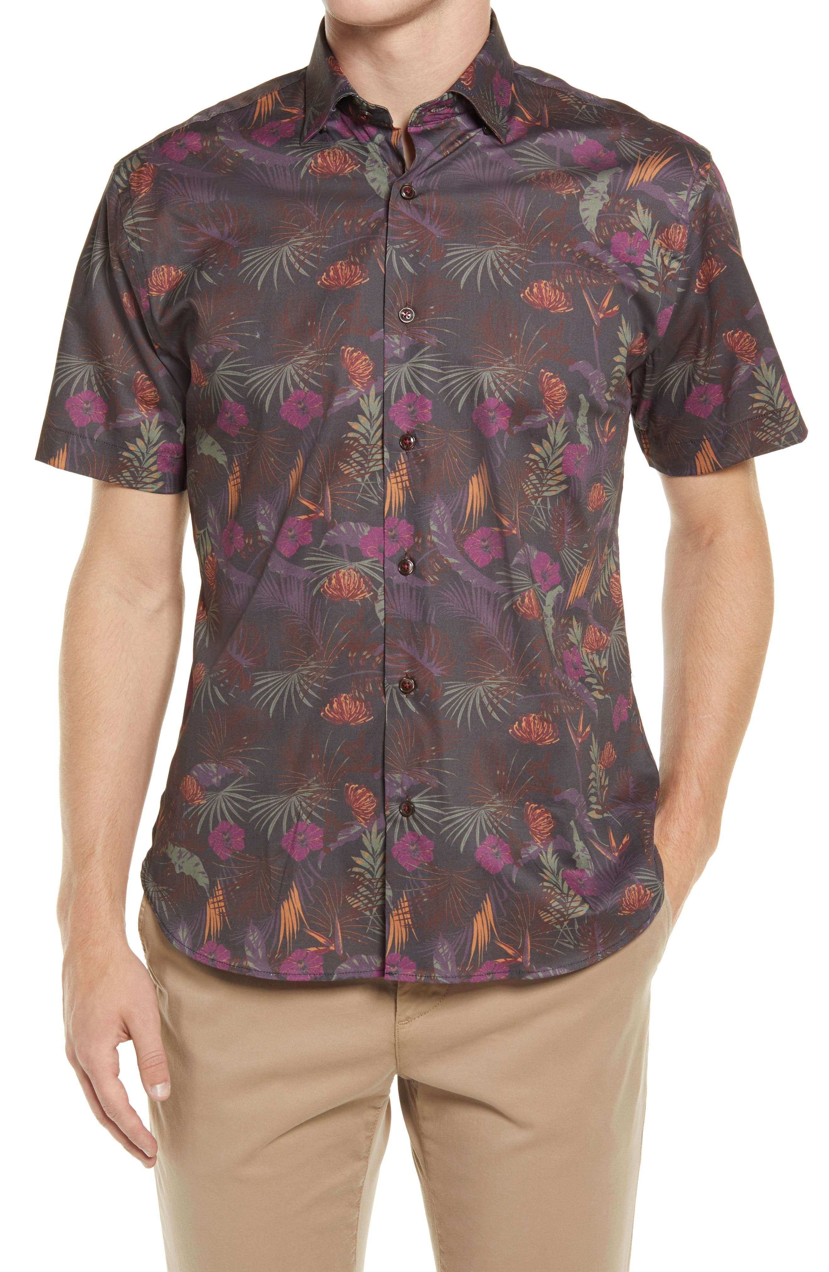 Winey Roads Floral Short Sleeve Stretch Button-Up Shirt
