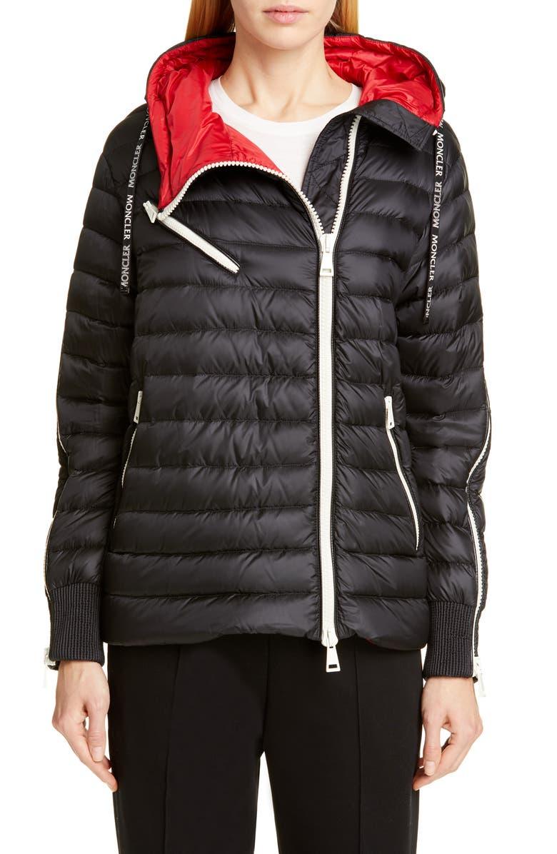 MONCLER Stockholm Hooded Lightweight Down Jacket, Main, color, BLACK