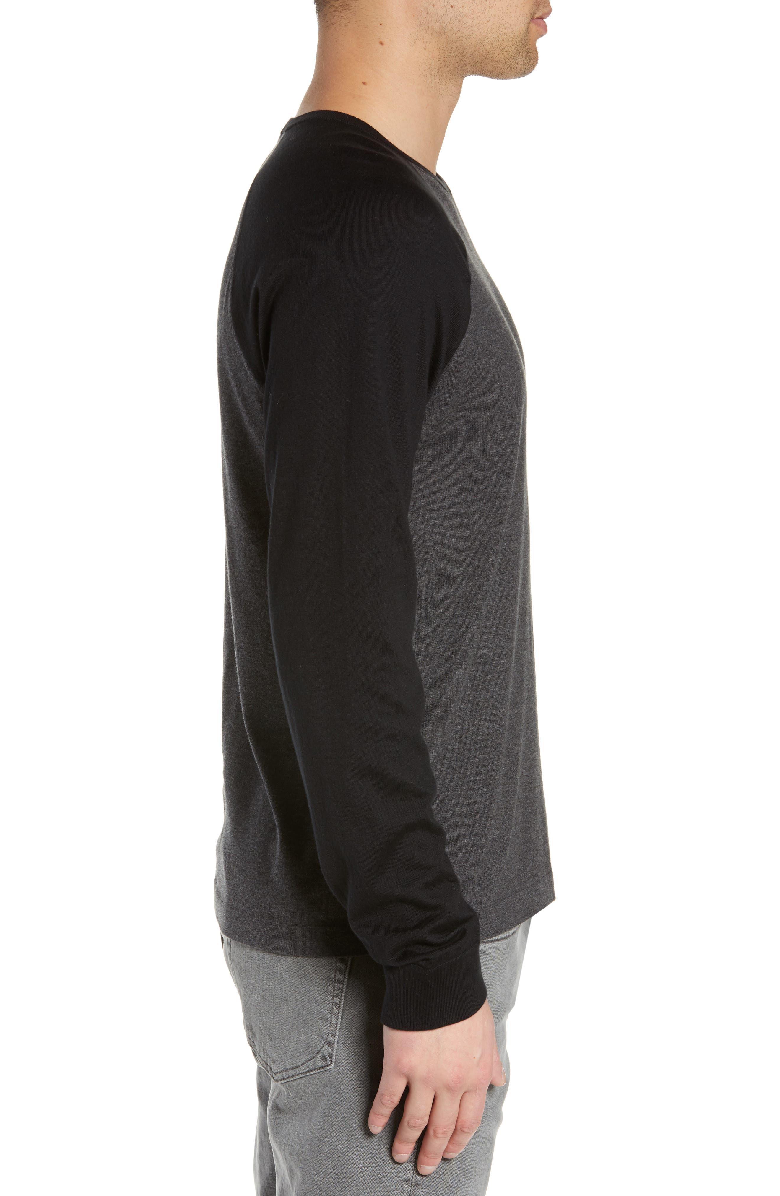 ,                             Jersey Crewneck Sweater,                             Alternate thumbnail 3, color,                             HEATHER/ CHARCOAL BLACK