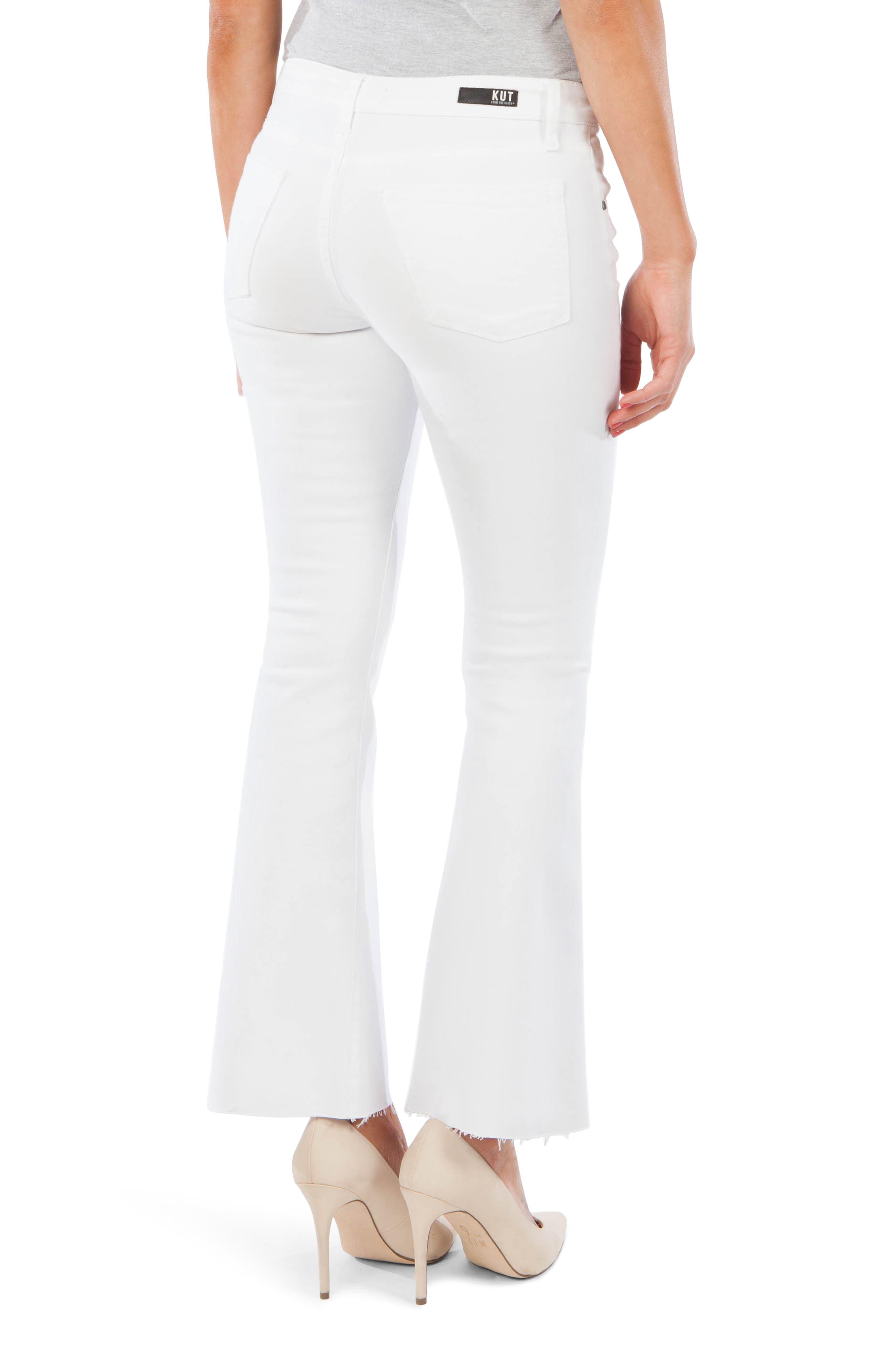 ,                             Stella Fray Hem Flare Jeans,                             Alternate thumbnail 2, color,                             OPTIC WHITE