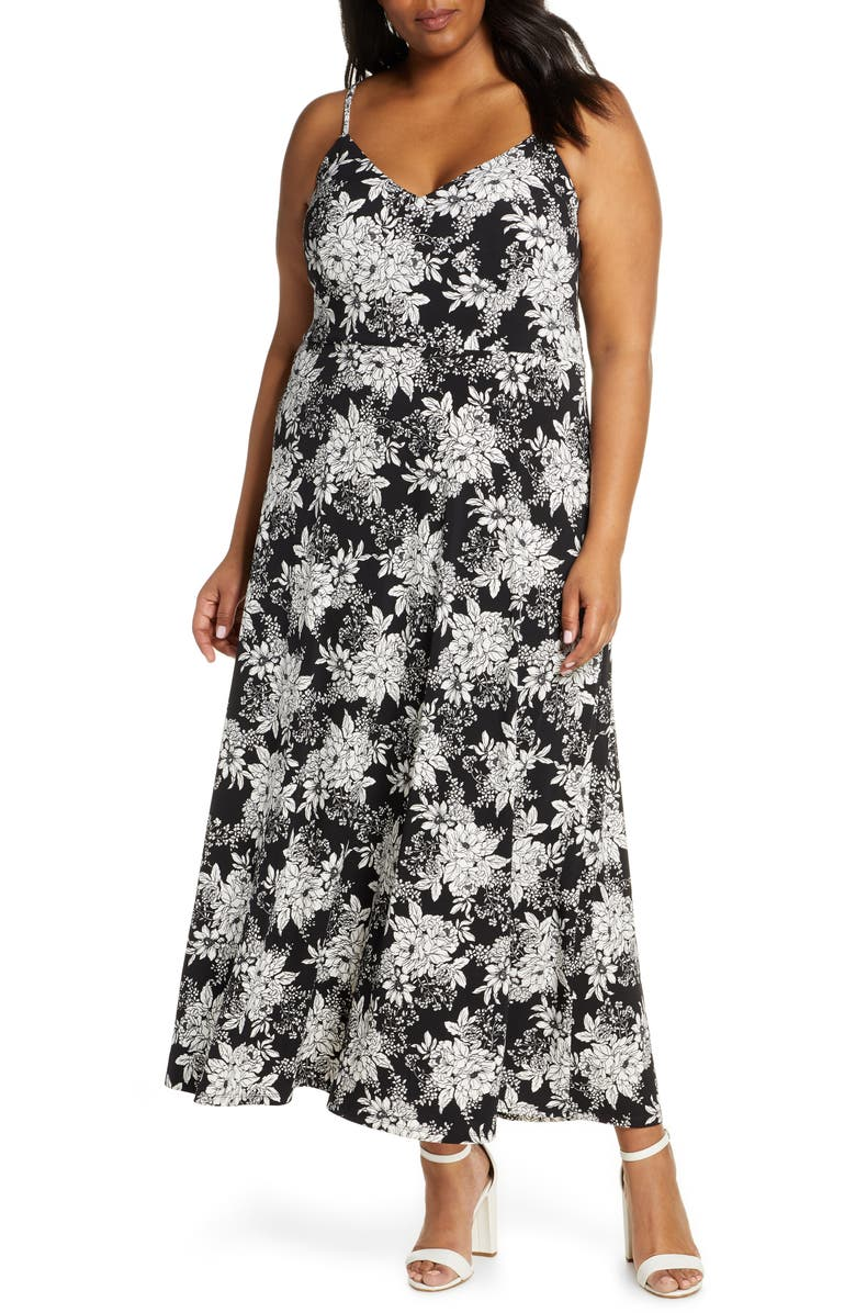 VINCE CAMUTO Boudoir Botanical Maxi Dress, Main, color, RICH BLACK