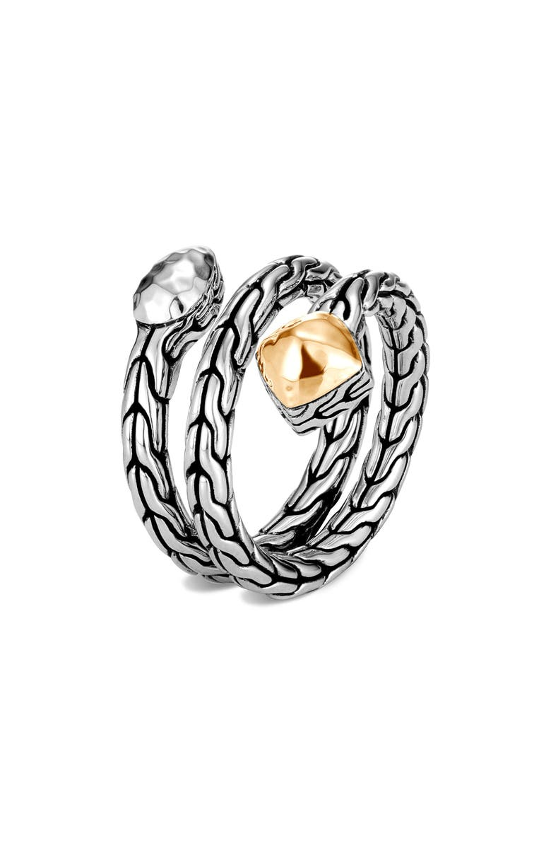 JOHN HARDY Classic Chain Hammered Wrap Ring, Main, color, SILVER/ GOLD