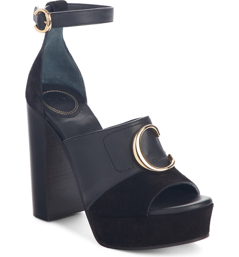 CHLOÉ C Logo Platform Ankle Strap Sandal, Main, color, BLACK