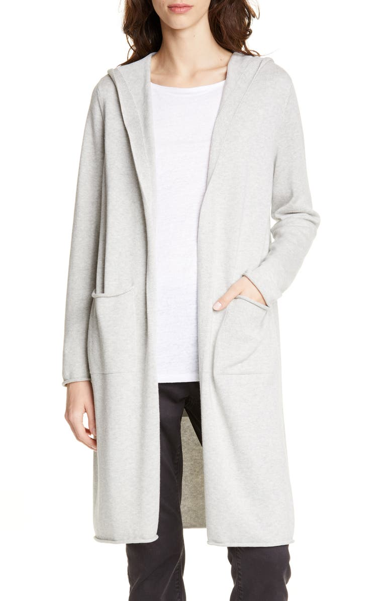 EILEEN FISHER Organic Cotton Hooded Cardigan, Main, color, PEARL