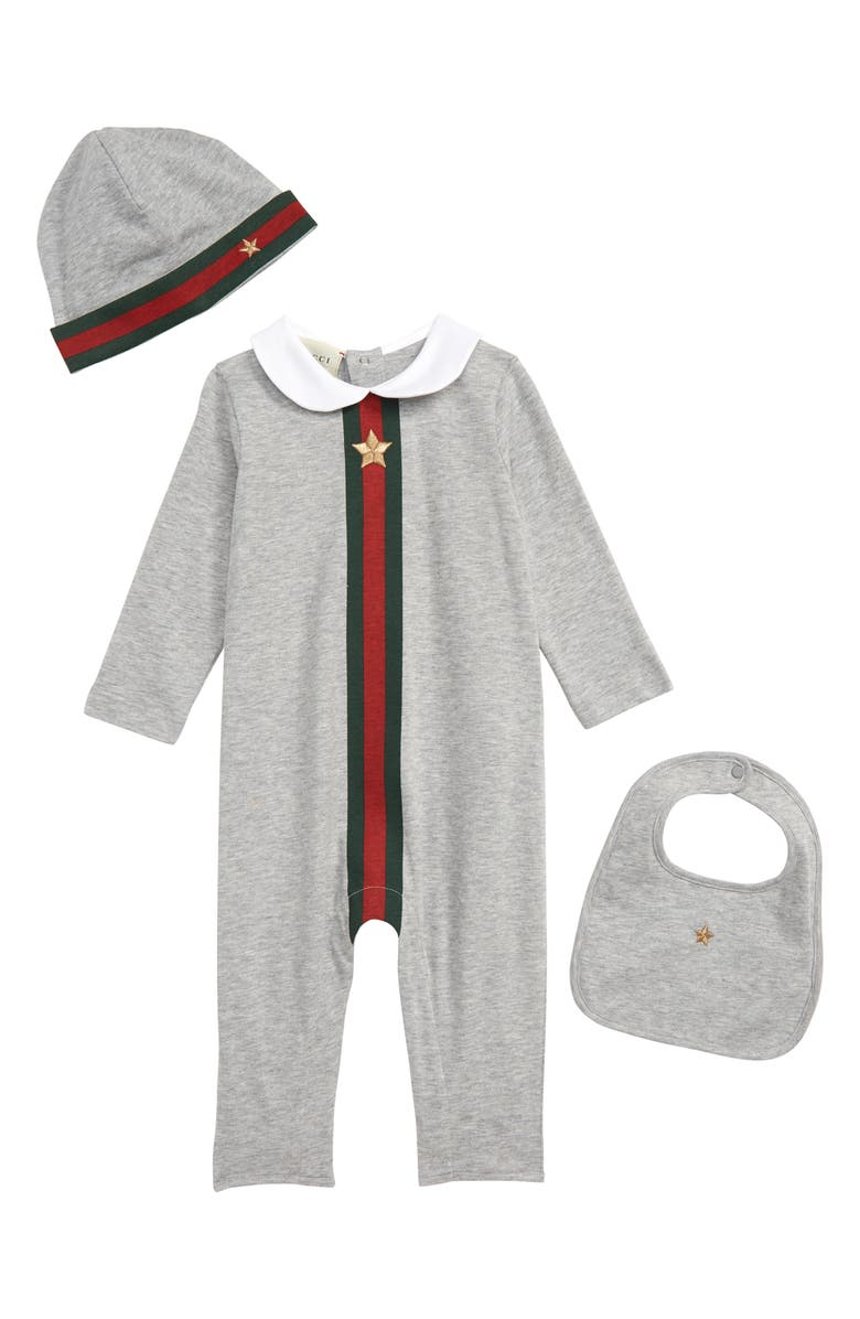 new arrivals release date purchase genuine Gucci Cotton Romper, Hat & Bib Set (Baby) | Nordstrom