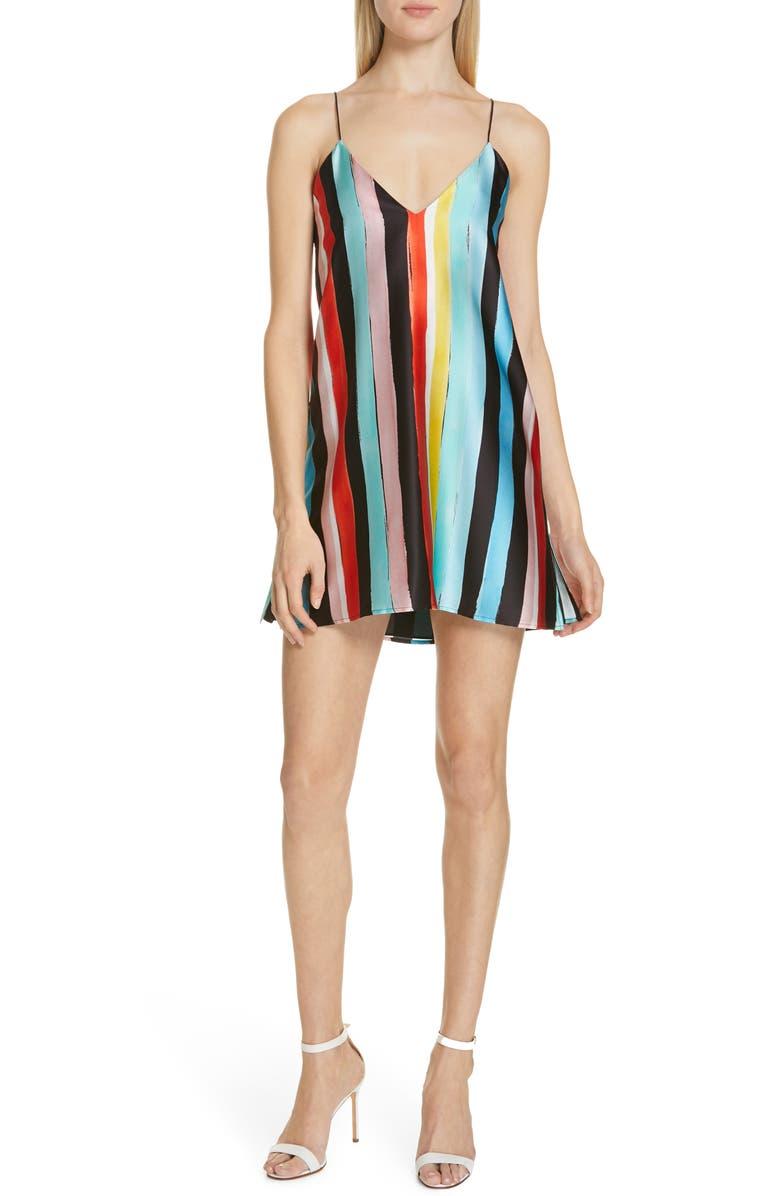 CAROLINE CONSTAS Elena Stripe Stretch Silk Slipdress, Main, color, 001