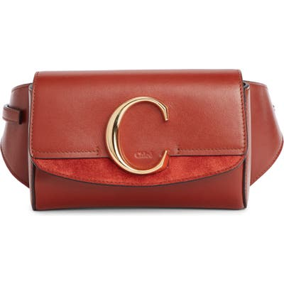 Chloe C Leather Convertible Belt Bag - Brown