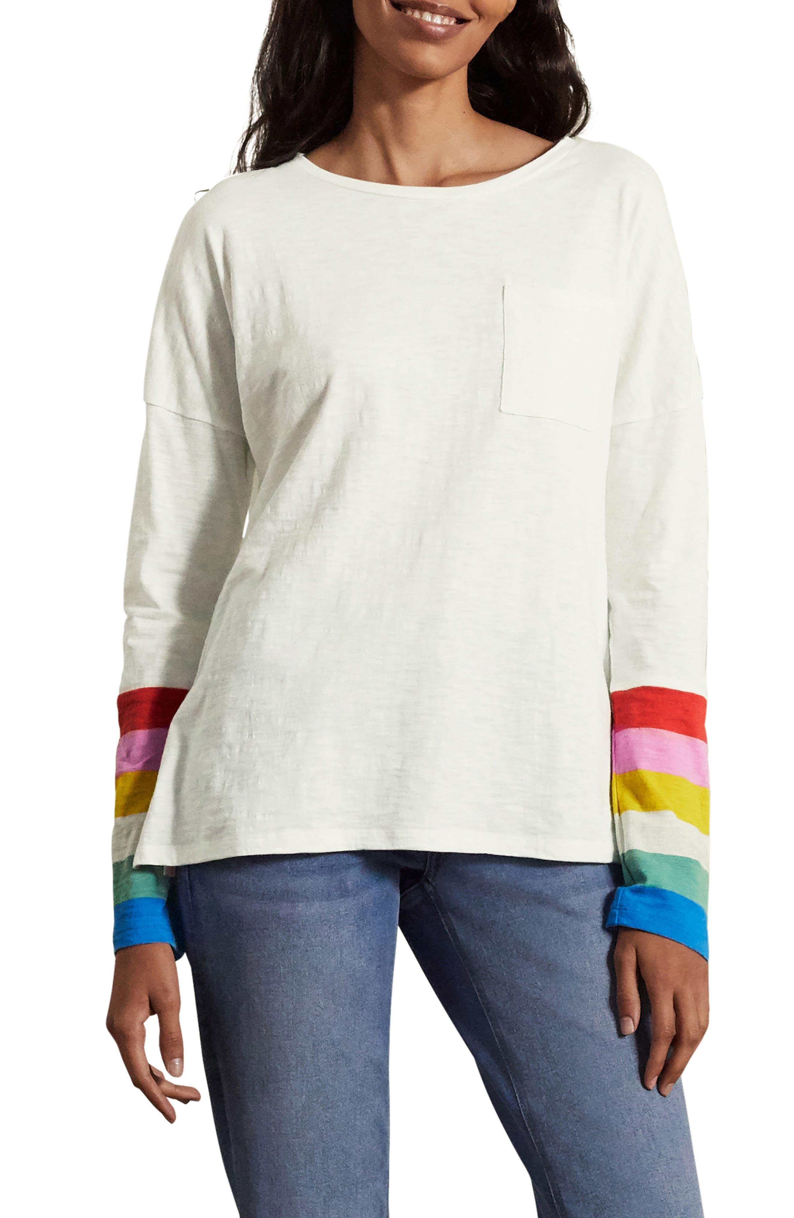 Boden Boxy Jersey Stripe Cotton Top
