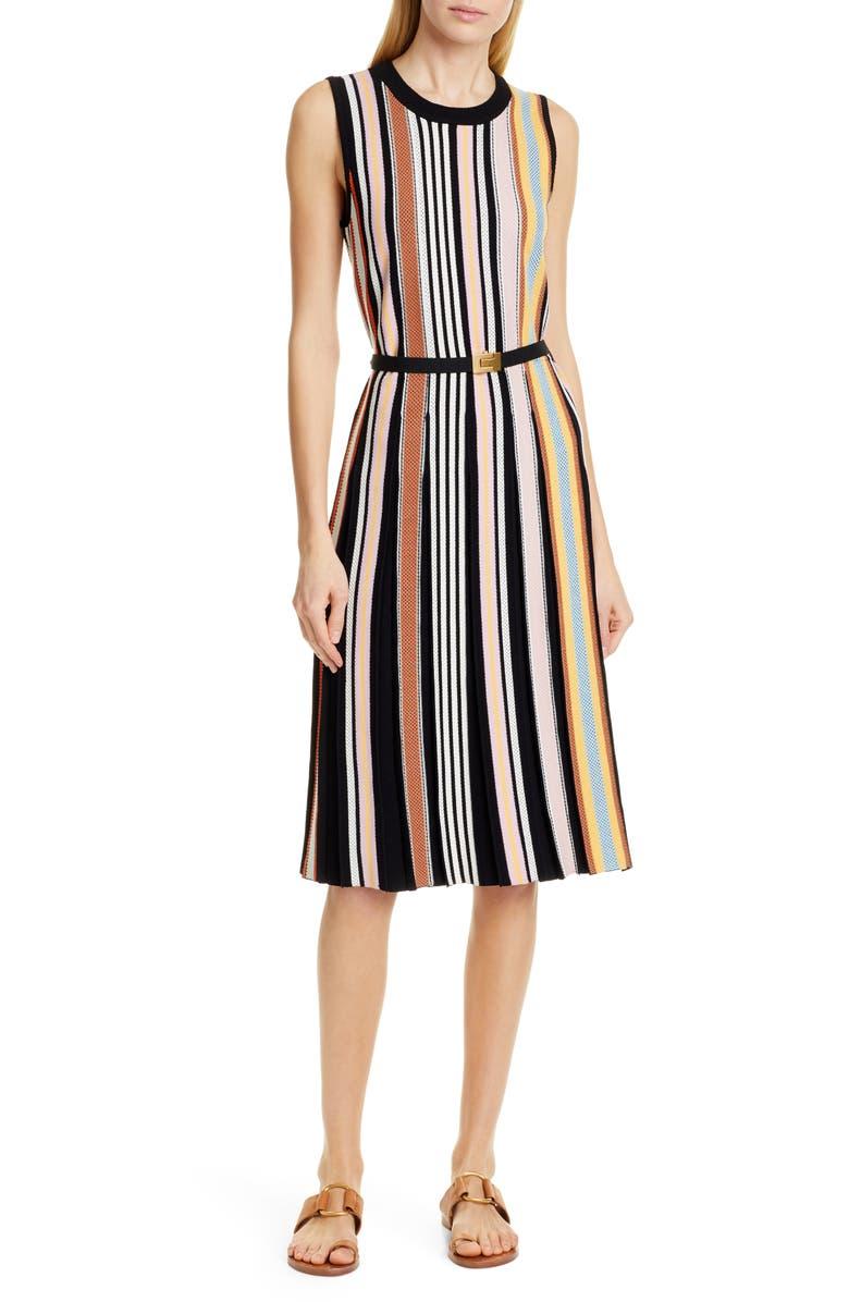 TORY BURCH Stripe Sweater Dress, Main, color, 001