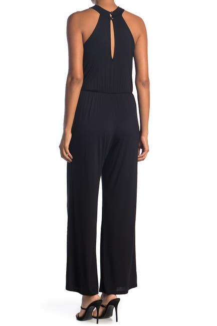 Image of WEST KEI Twist Halter Neck Sleeveless Jersey Jumpsuit