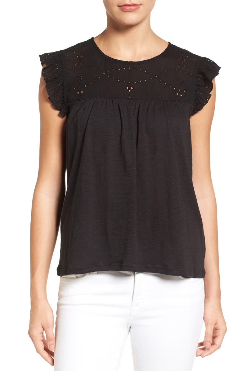 CASLON<SUP>®</SUP> Eyelet Embroidered Flutter Sleeve Top, Main, color, 001