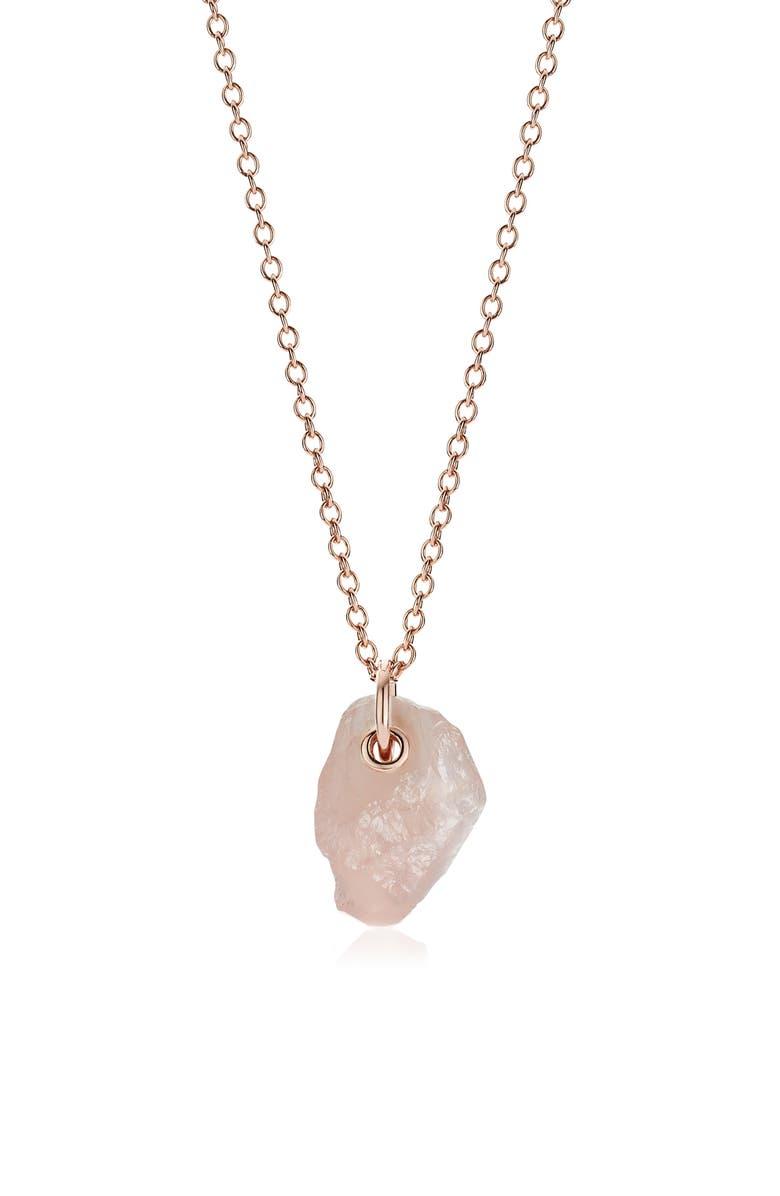 MONICA VINADER x Caroline Issa Rose Quartz Pendant Necklace, Main, color, ROSE GOLD/ ROSE QUARTZ