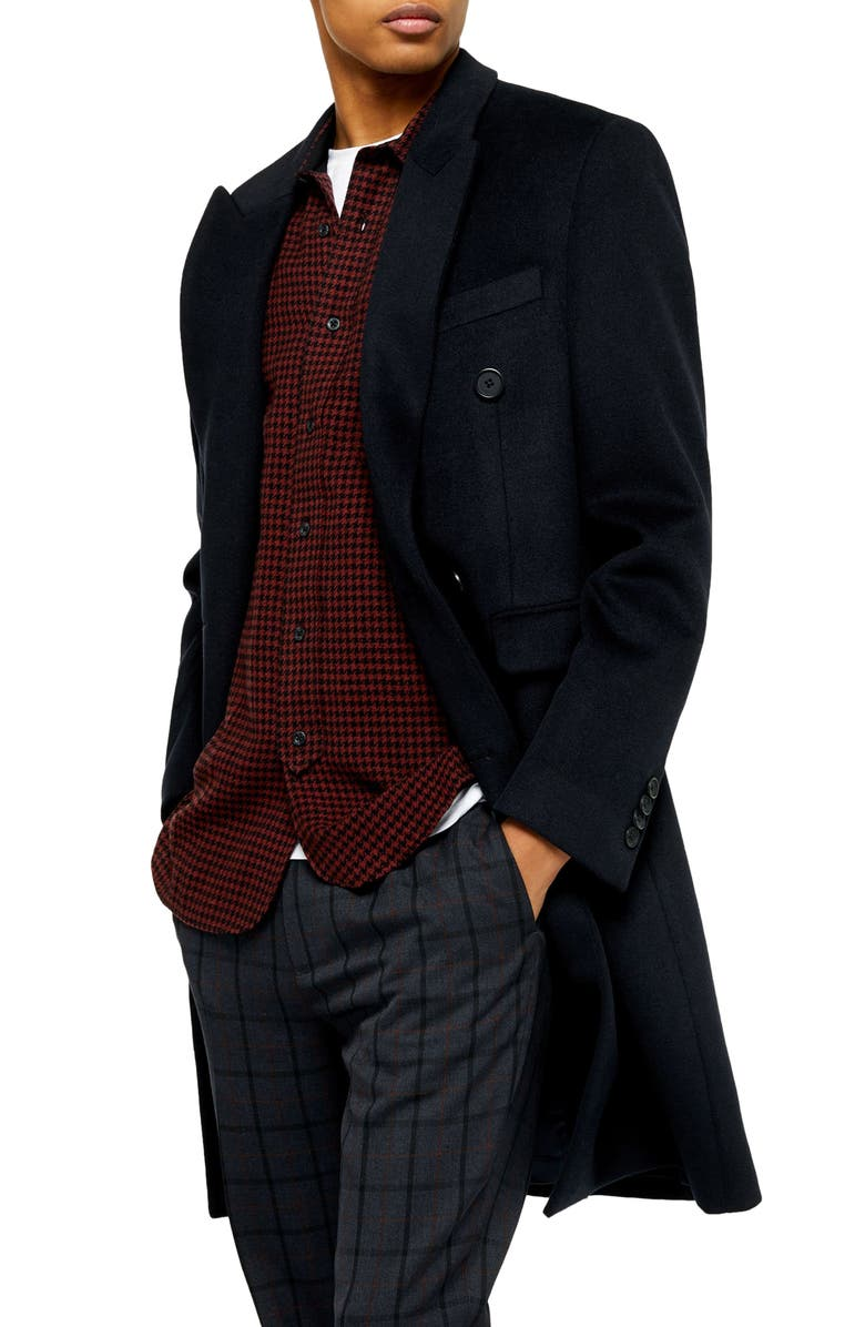 TOPMAN Fraser Double Breasted Coat, Main, color, DARK BLUE