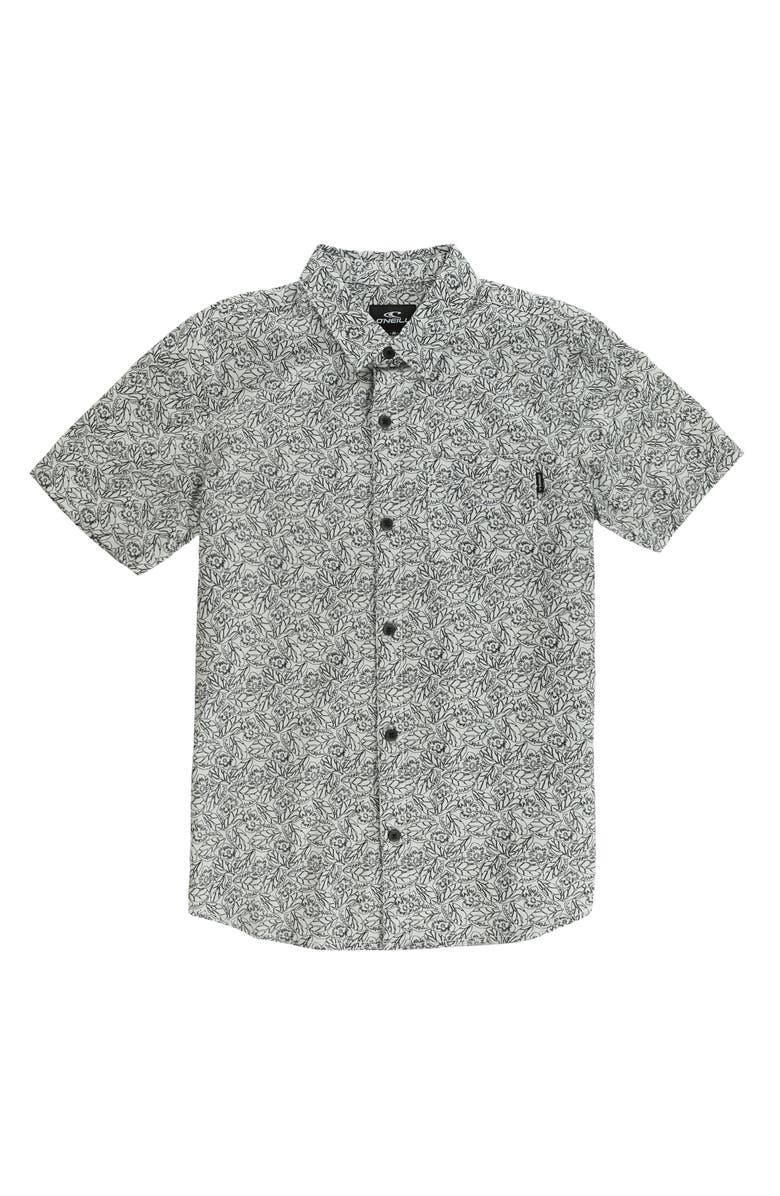 O'NEILL Humdinger Short Sleeve Button-Up Shirt, Main, color, FOG