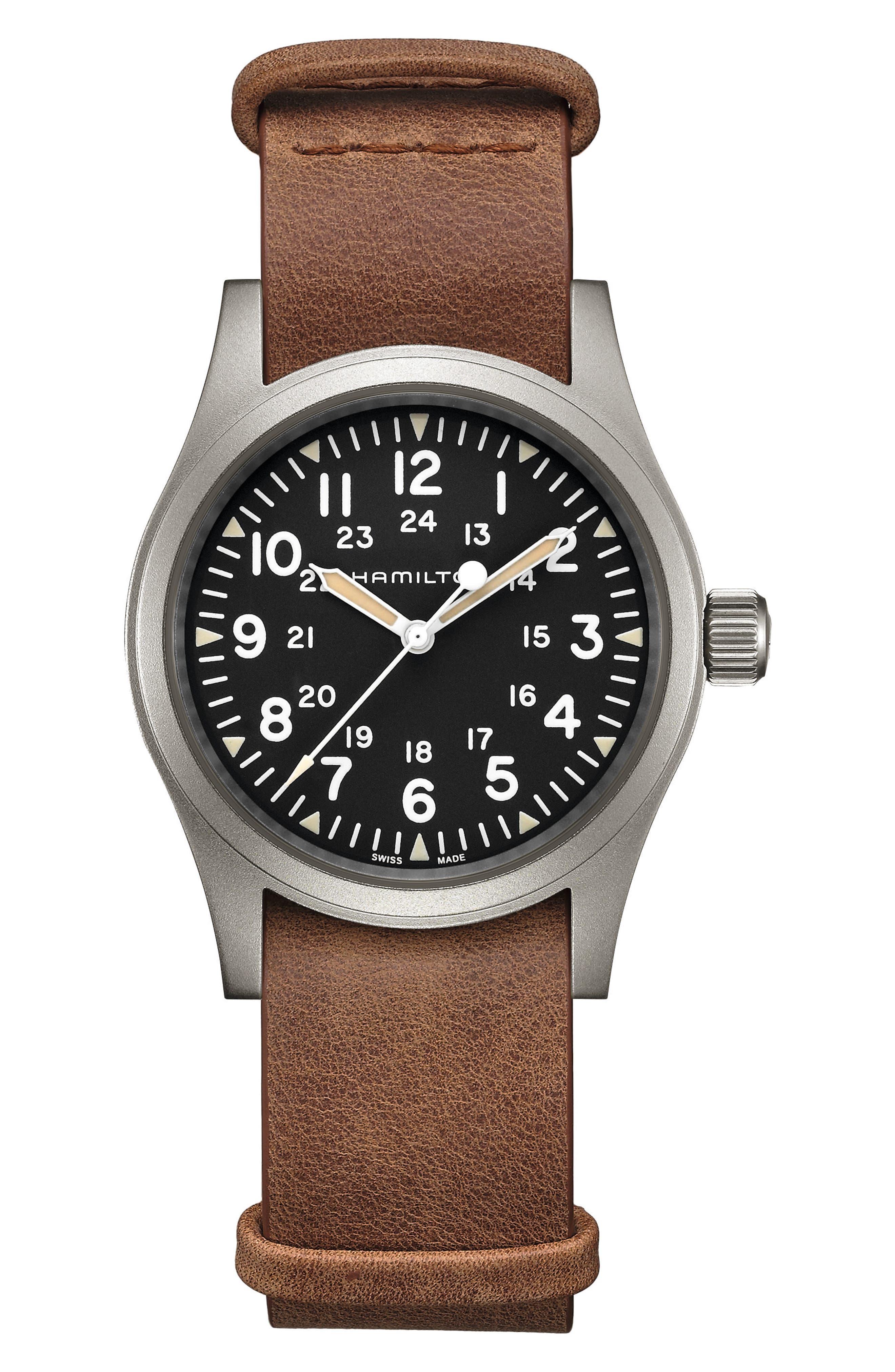 Khaki Field Leather Strap Watch