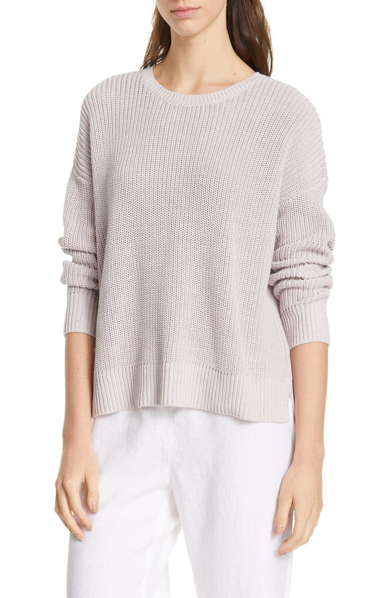 EILEEN FISHER Boxy Organic Cotton Sweater, Main, color, DARK CERAMIC