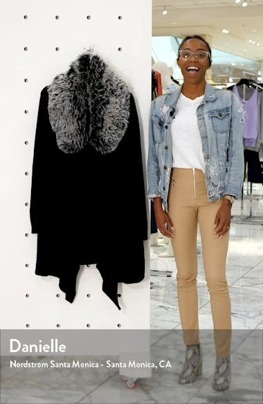 Open Front Cardigan with Faux Fur Collar, sales video thumbnail