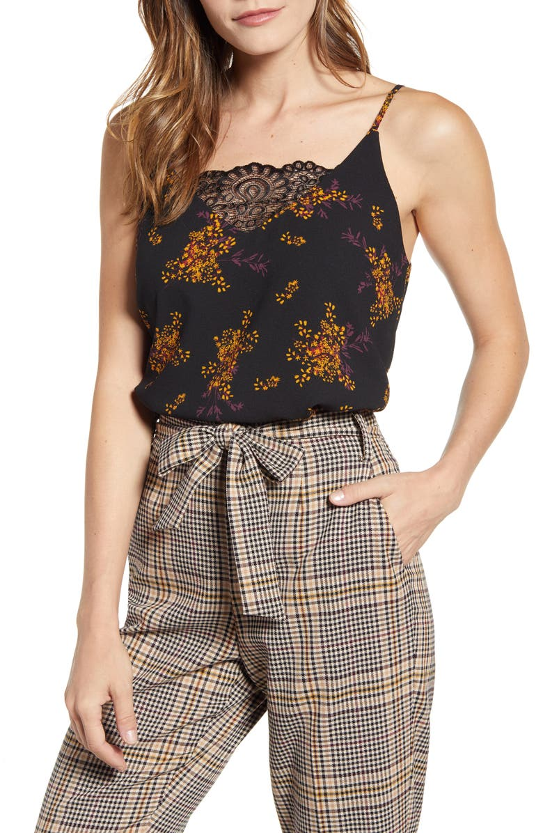 1.STATE Wild Country Blooms Lace Inset Camisole, Main, color, RICH BLACK