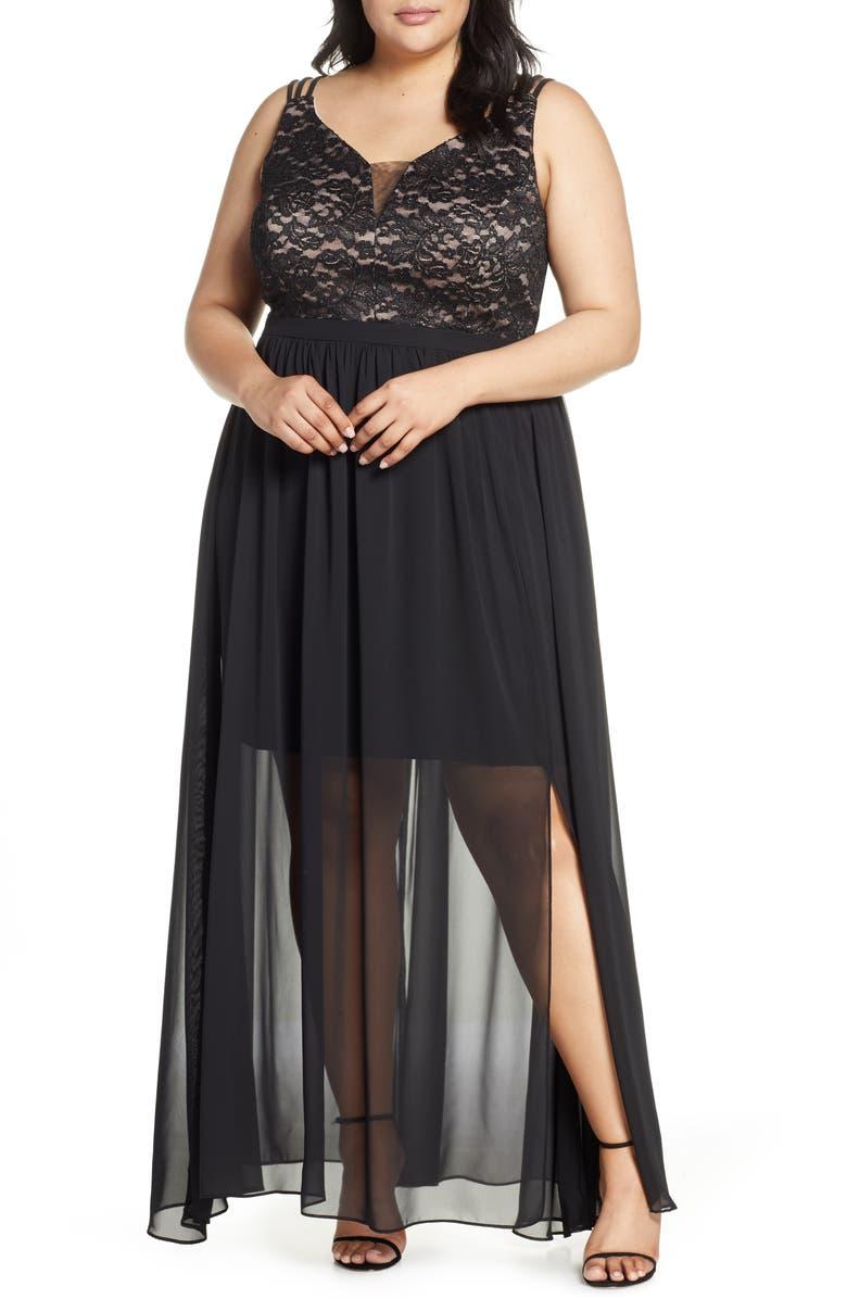 MORGAN & CO. Strappy Lace Bodice Chiffon Gown, Main, color, BLACK/ NUDE