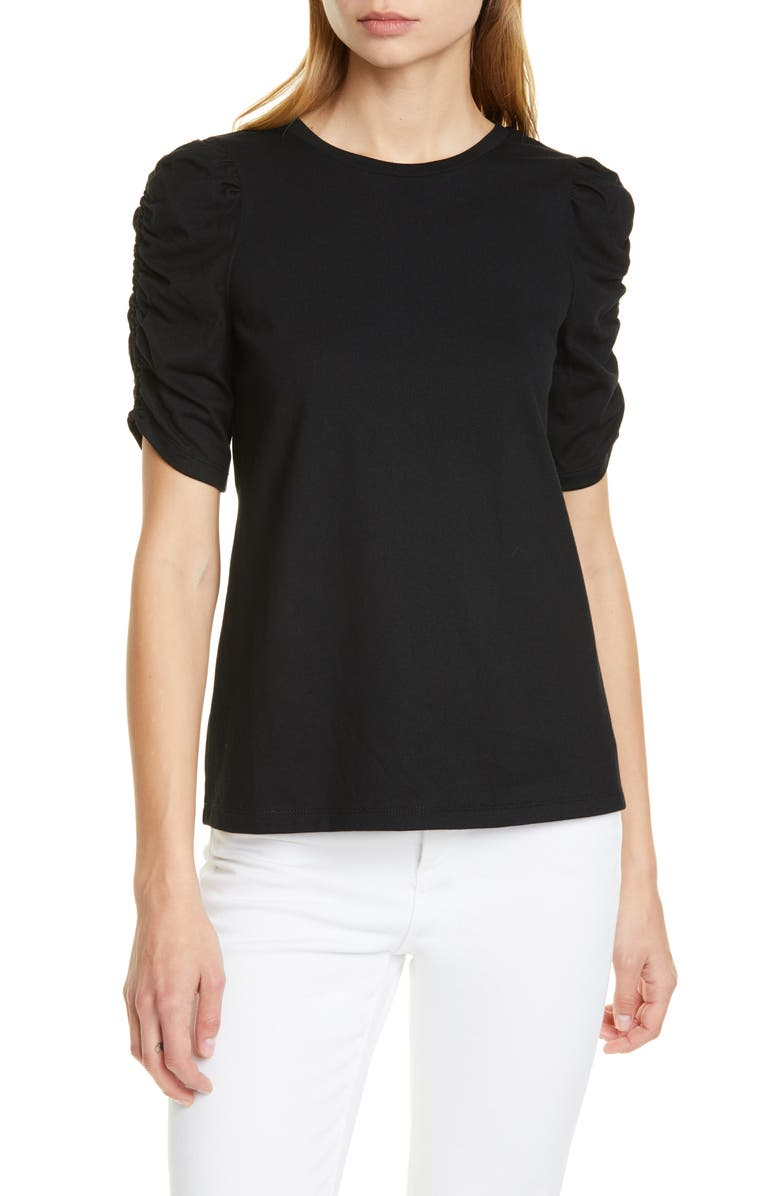 KATE SPADE NEW YORK ruched sleeve tee, Main, color, 001
