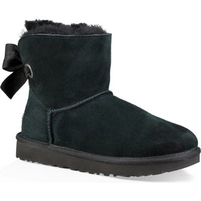 UGG Customizable Bailey Bow Mini Genuine Shearling Bootie, Black