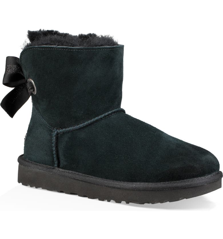 UGG<SUP>®</SUP> Customizable Bailey Bow Mini Genuine Shearling Bootie, Main, color, BLACK SUEDE
